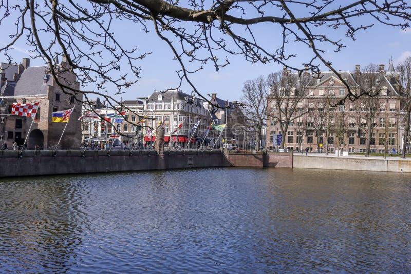 Un jour ensoleillé de l'hiver chez Buitenhof dans la ville de la Haye images libres de droits
