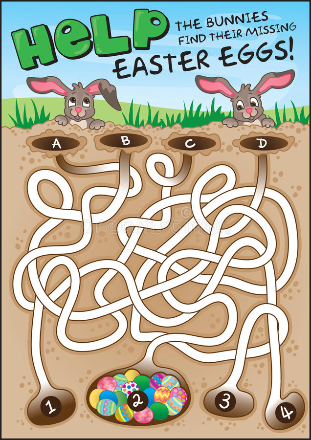 ¡Laberinto del conejito de pascua para los niños! ilustración del vector