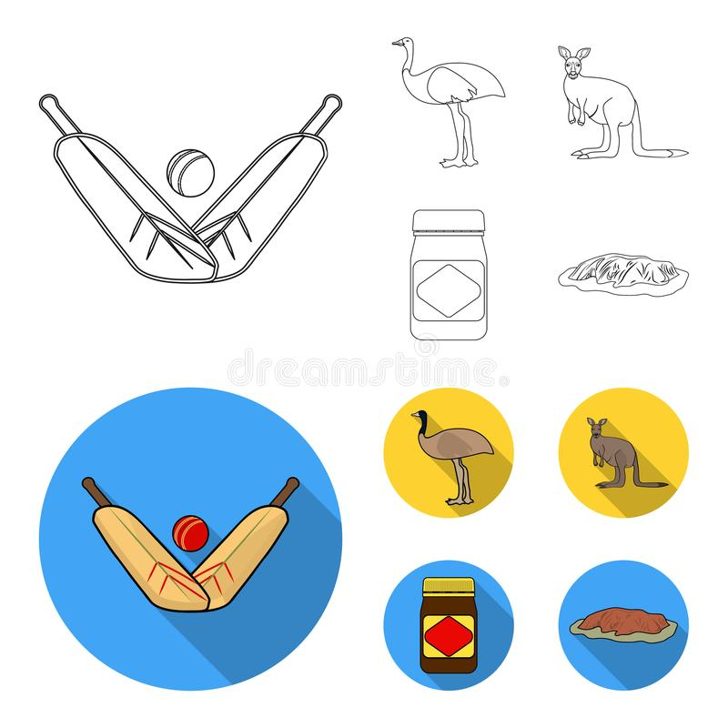 Un juego del grillo, una avestruz del emú, un canguro, una comida popular Iconos determinados de la colección de Australia en el  stock de ilustración