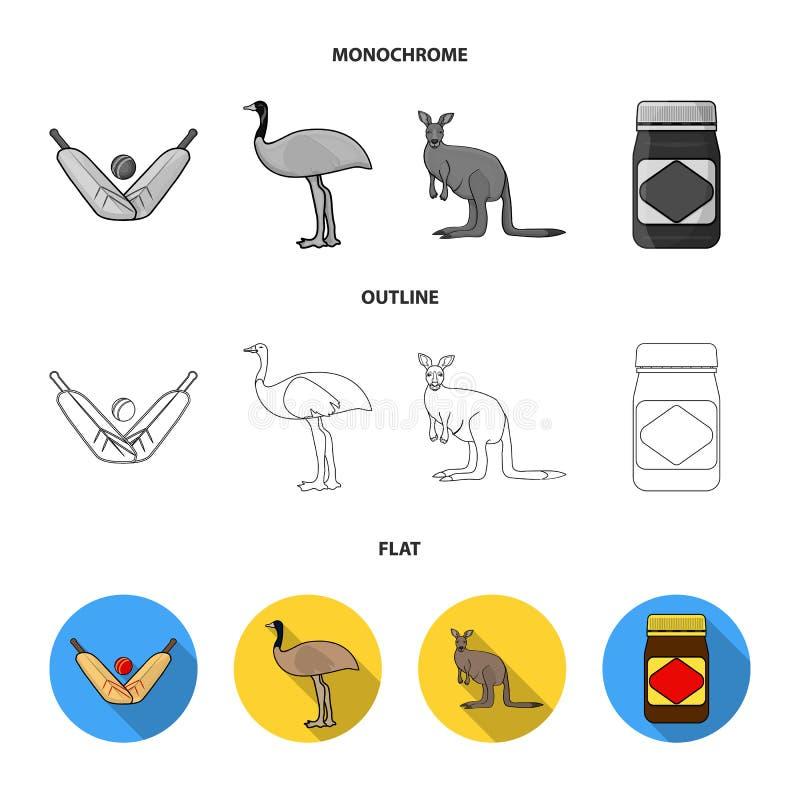 Un juego del grillo, una avestruz del emú, un canguro, una comida popular Iconos determinados de la colección de Australia en el  ilustración del vector