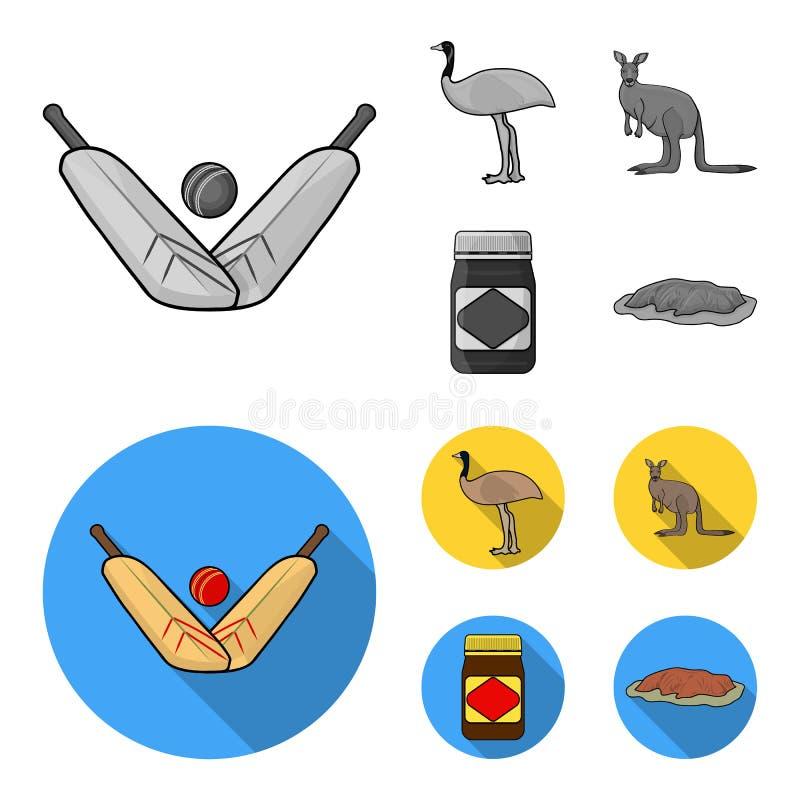 Un juego del grillo, una avestruz del emú, un canguro, una comida popular Iconos determinados de la colección de Australia en est stock de ilustración
