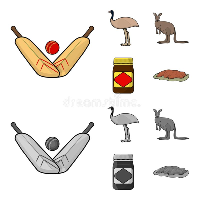 Un juego del grillo, una avestruz del emú, un canguro, una comida popular Iconos determinados de la colección de Australia en la  libre illustration