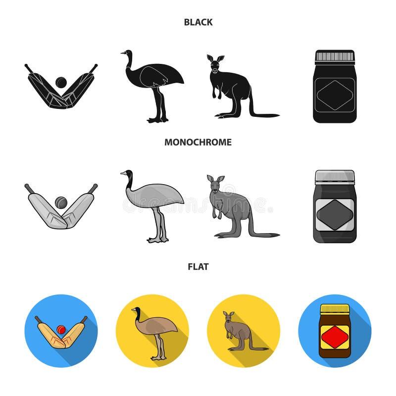 Un juego del grillo, una avestruz del emú, un canguro, una comida popular Iconos determinados de la colección de Australia en neg ilustración del vector