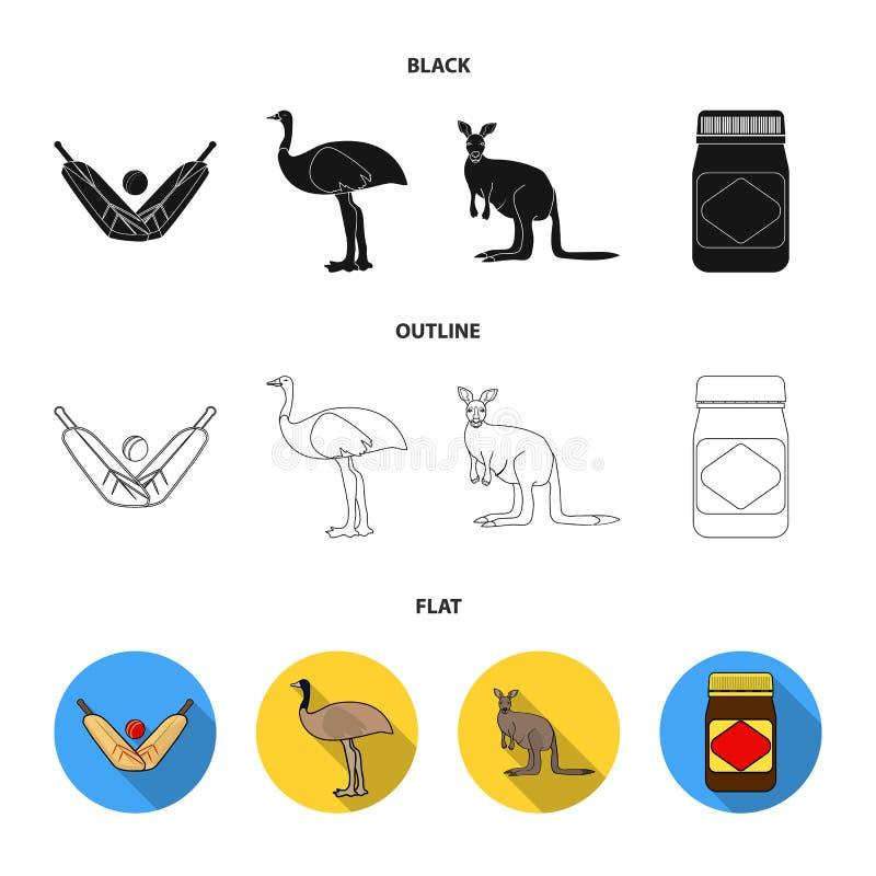 Un juego del grillo, una avestruz del emú, un canguro, una comida popular Iconos determinados de la colección de Australia en neg stock de ilustración