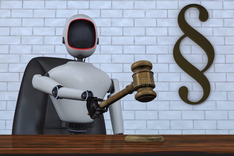 Un juez del robot del futuro stock de ilustración