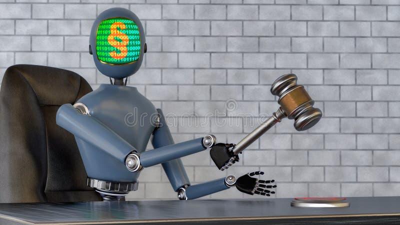 Un juez del robot en un futuro próximo stock de ilustración