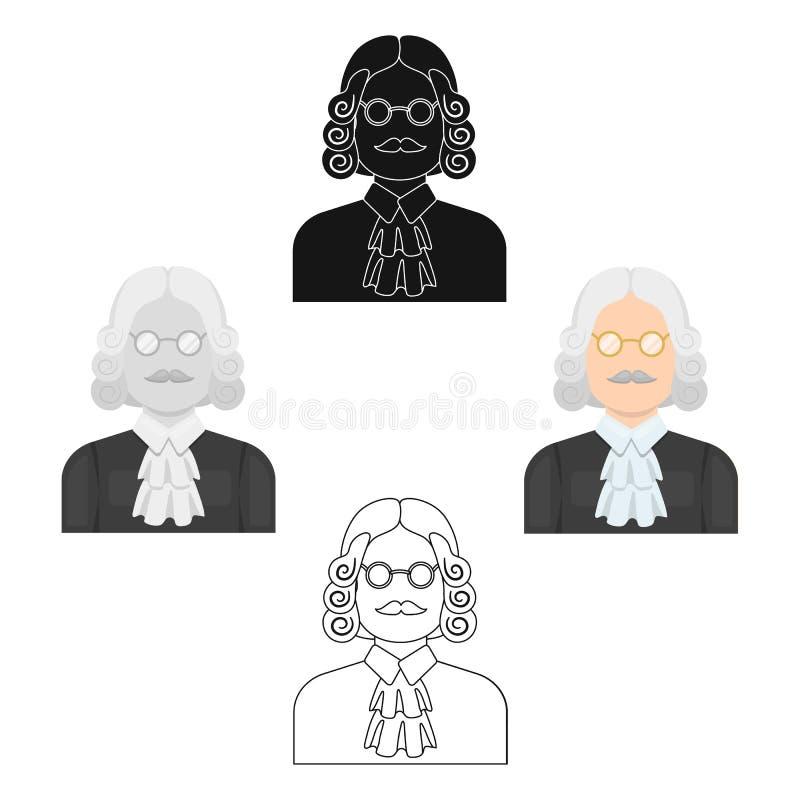 Un juez en una peluca y vidrios Una persona que hace un veredicto a un criminal Solo icono de la prisión en la historieta, estilo libre illustration