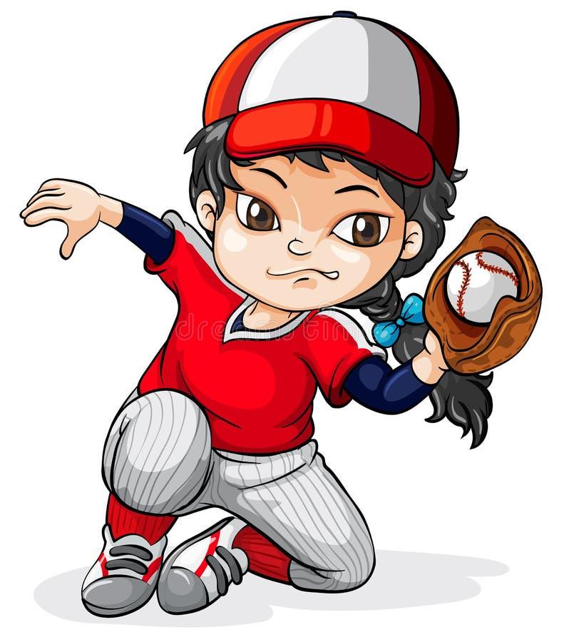Un jugador de béisbol asiático de sexo femenino ilustración del vector