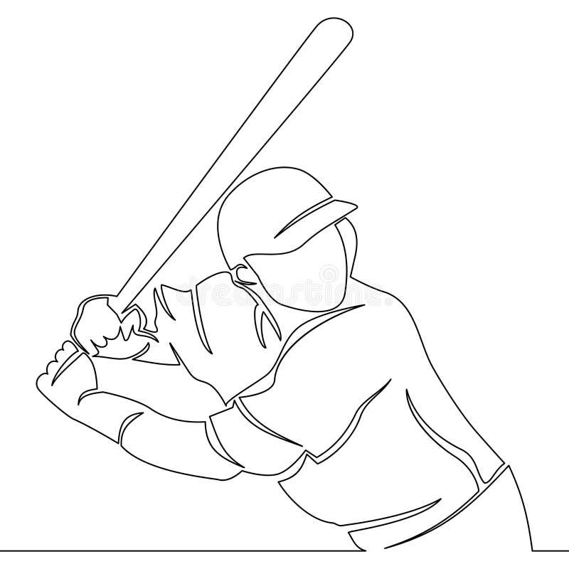 Un jugador de b?isbol continuo del dibujo lineal libre illustration