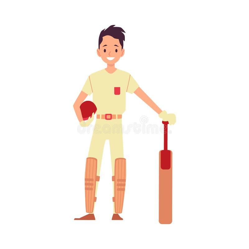 Un jugador, un jugador de criquet y un bateador del grillo del hombre hace una pausa tomando un casco en sus manos stock de ilustración