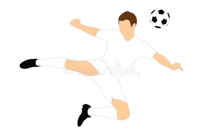Un jugador de fútbol que tira una bola con su cabeza libre illustration