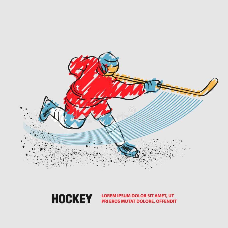Un jugador de hockey dispara un disco con un bastón de hockey. Esquema vectorial del jugador de hockey con garabatos ilustración del vector