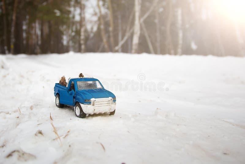 Un juguete Camioneta pickup azul en bosque del invierno con la puerta abierta en el camino Conos de abeto que llevan en la parte  foto de archivo libre de regalías