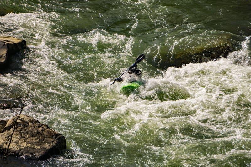 Un Kayaker subacqueo su Murray River fotografia stock libera da diritti