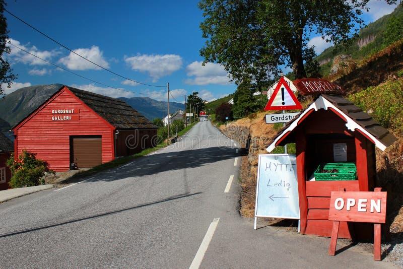 Un Kiosque de libre-service de bord de la route près de Lofthus, Norvège photo libre de droits