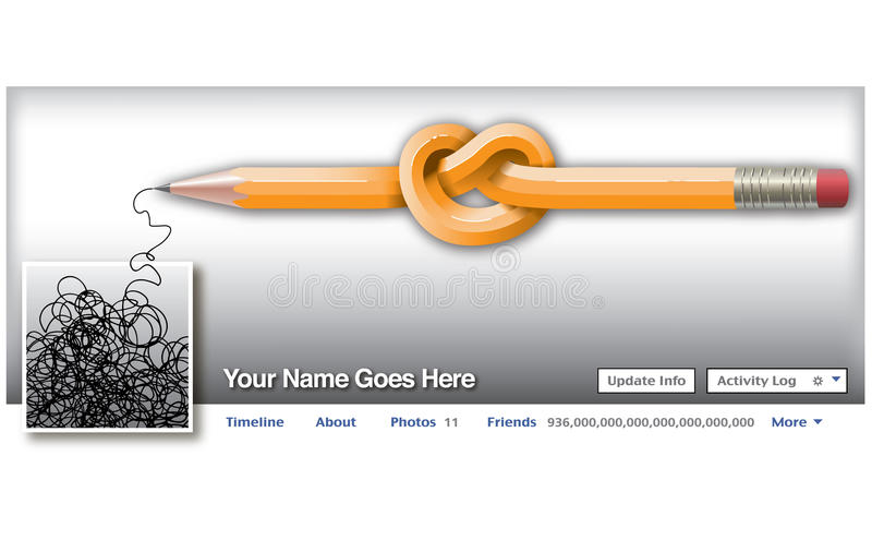 Un lápiz anudado en un medios ajuste social ilustración del vector