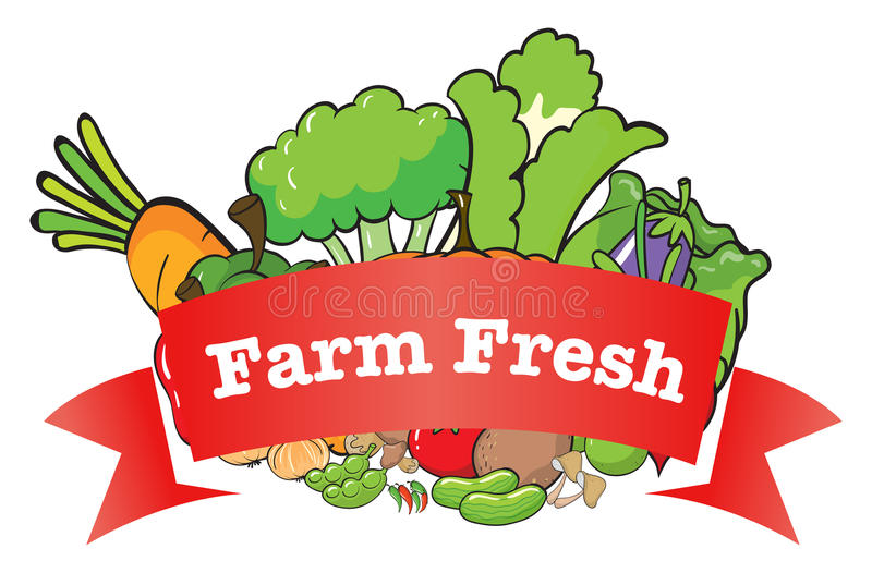 Un label frais de ferme avec les légumes frais illustration de vecteur