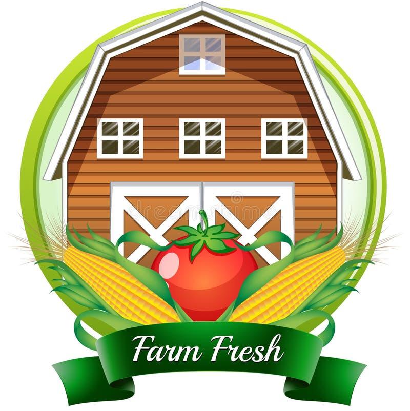 Un label frais de ferme avec un barnhouse brun, une tomate et des grains illustration libre de droits