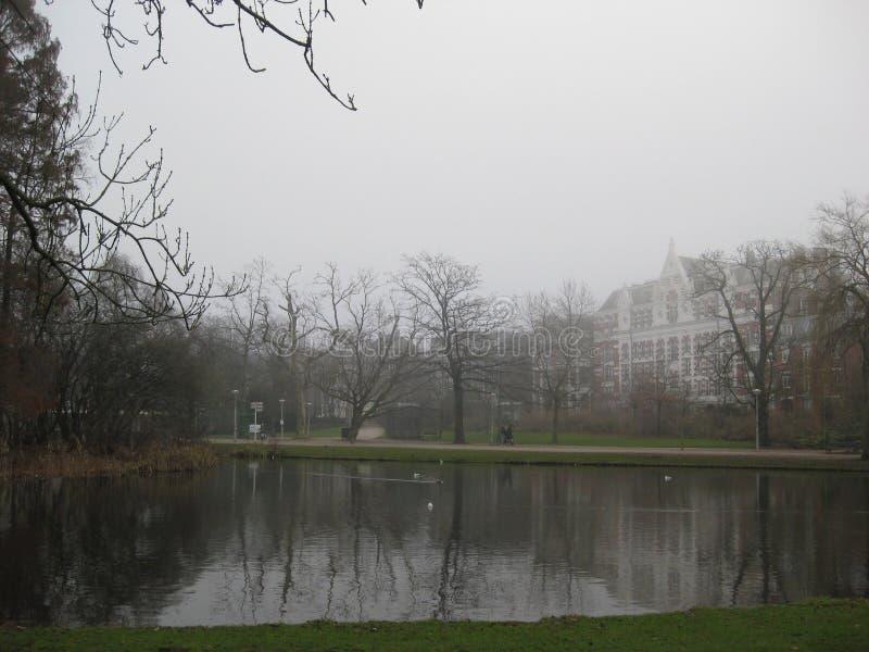 Un lac dans le Vondelpark, Amsterdam image stock