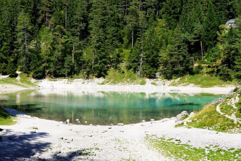 Un lac vert étonnant en Autriche les montagnes de Hohshwab image libre de droits