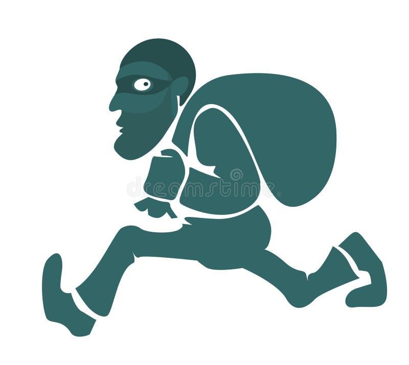 Un ladrón con un bolso ilustración del vector