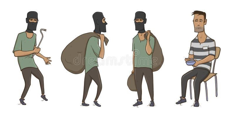Un ladrón, ladrón, ladrón, hombre en máscara del pasamontañas con el saco enorme y palanca Un criminal en la prisión en ropa raya libre illustration