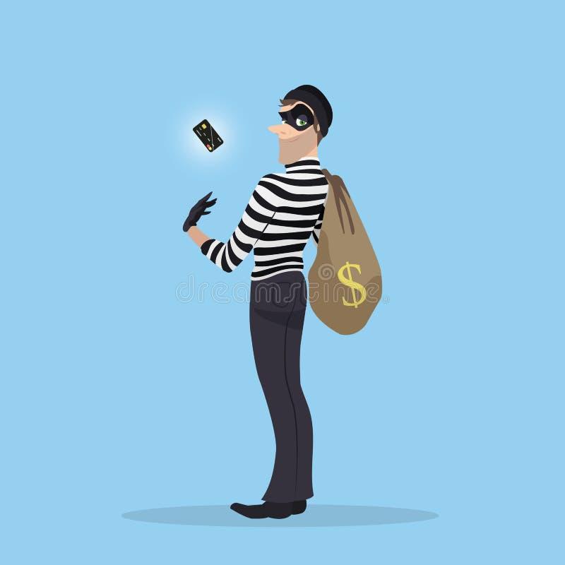 Un ladrón robó una tarjeta de crédito con el dinero ilustración del vector