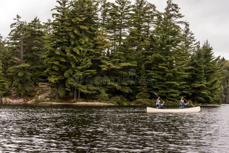 Un lago canada Ontario di due coppie dei fiumi su una canoa Canoes sul parco nazionale del Algonquin dell'acqua immagine stock libera da diritti