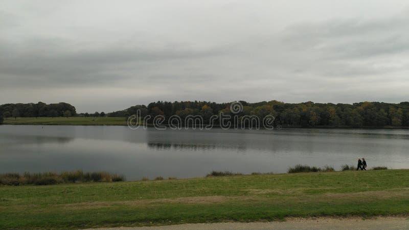 Un lago rodeado por los ?rboles foto de archivo