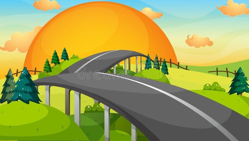 Un largo camino con una puesta del sol ilustración del vector