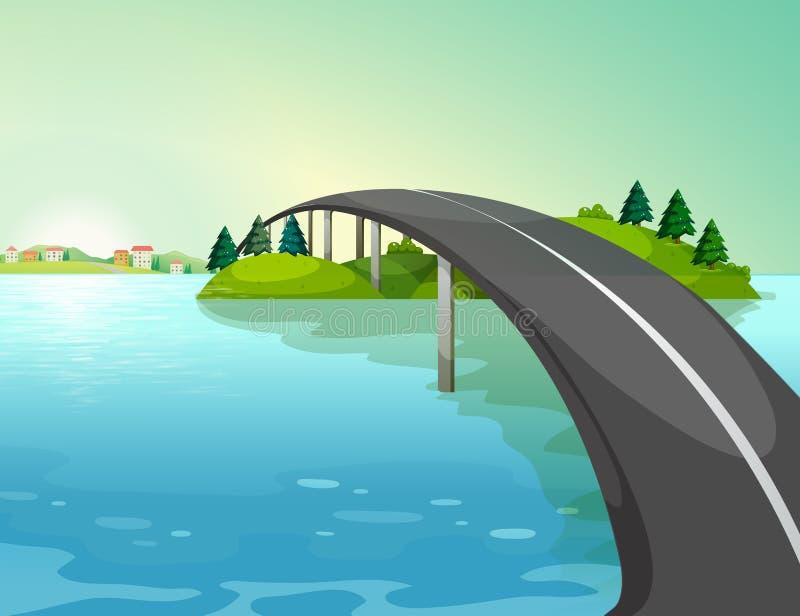 Un largo camino sobre el río ilustración del vector