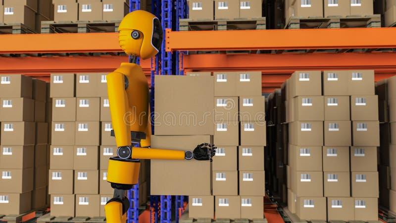 Un lavoratore del magazzino del robot royalty illustrazione gratis