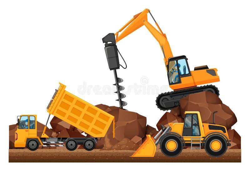 Un lavoro differente di tre camion della costruzione illustrazione vettoriale