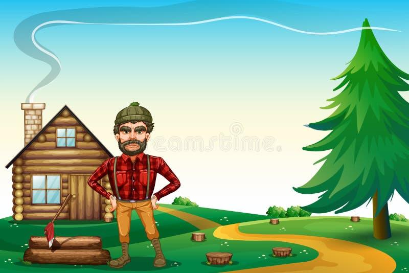 Un leñador que se coloca delante del cortijo de madera ilustración del vector