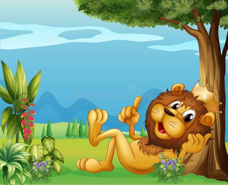 Un león del rey que se relaja debajo de un árbol grande ilustración del vector