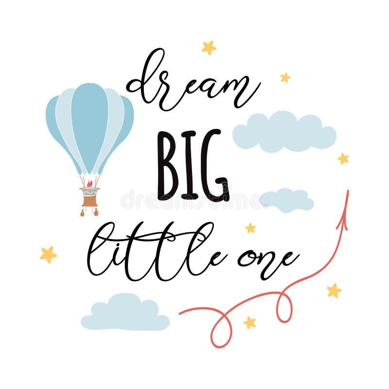 Un lema grande, pequeño ideal de la moda con volar el globo del aire caliente ilustración del vector