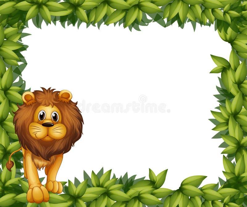 Un leone davanti ad una struttura frondosa vuota illustrazione vettoriale