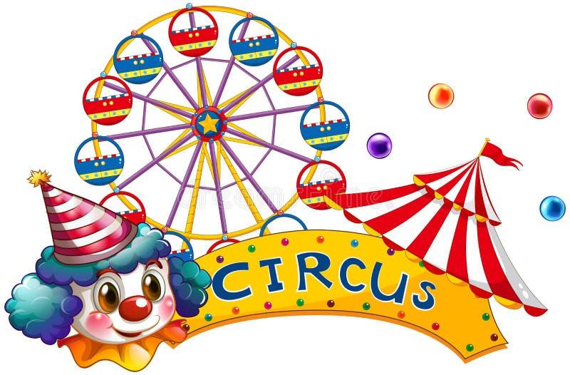 Un letrero del circo con un payaso y una tienda stock de ilustración