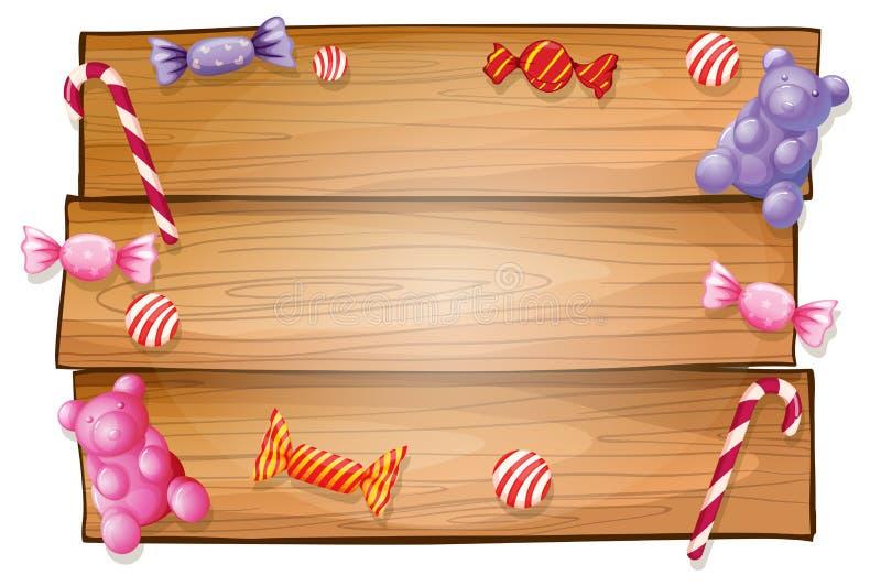 Un letrero vacío con los caramelos stock de ilustración