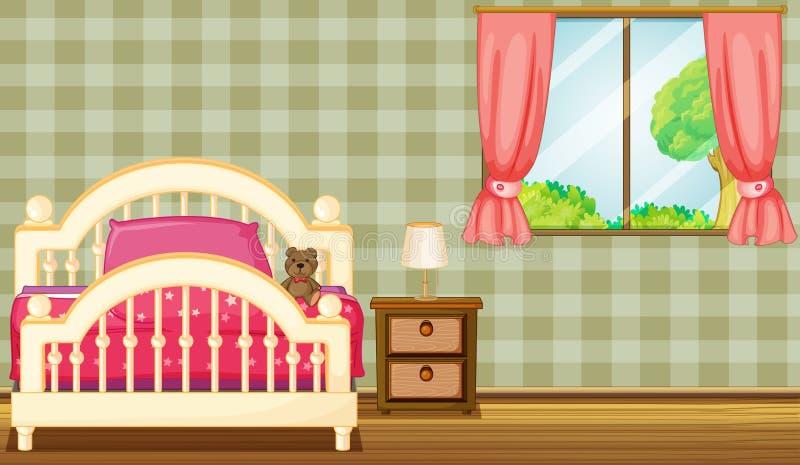 Un letto e una lampada illustrazione di stock
