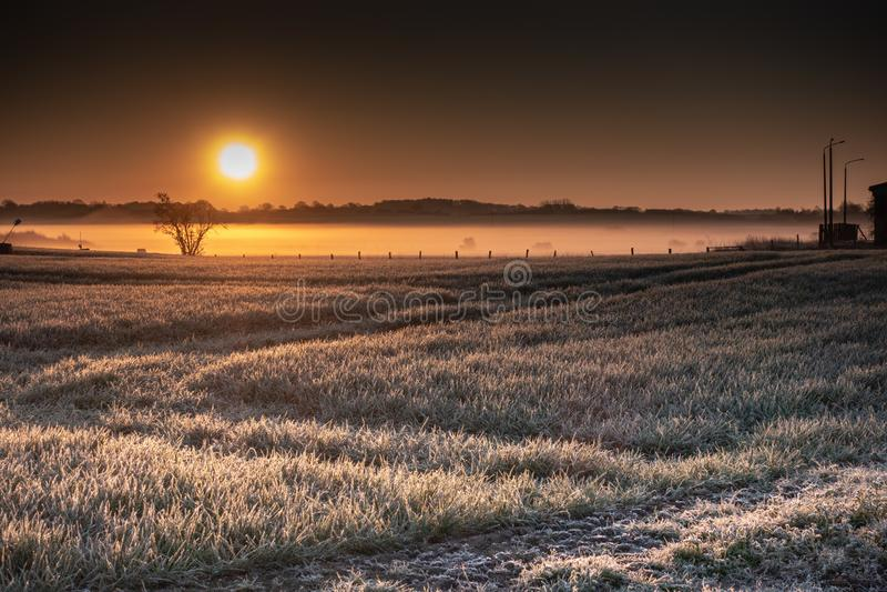 Un lever de soleil au-dessus des champs larges photo libre de droits