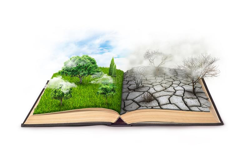 Un libro abierto Bipolaridad En un lado, naturaleza, en otra niebla con humo y una sequía aislada en un blanco imagen de archivo libre de regalías