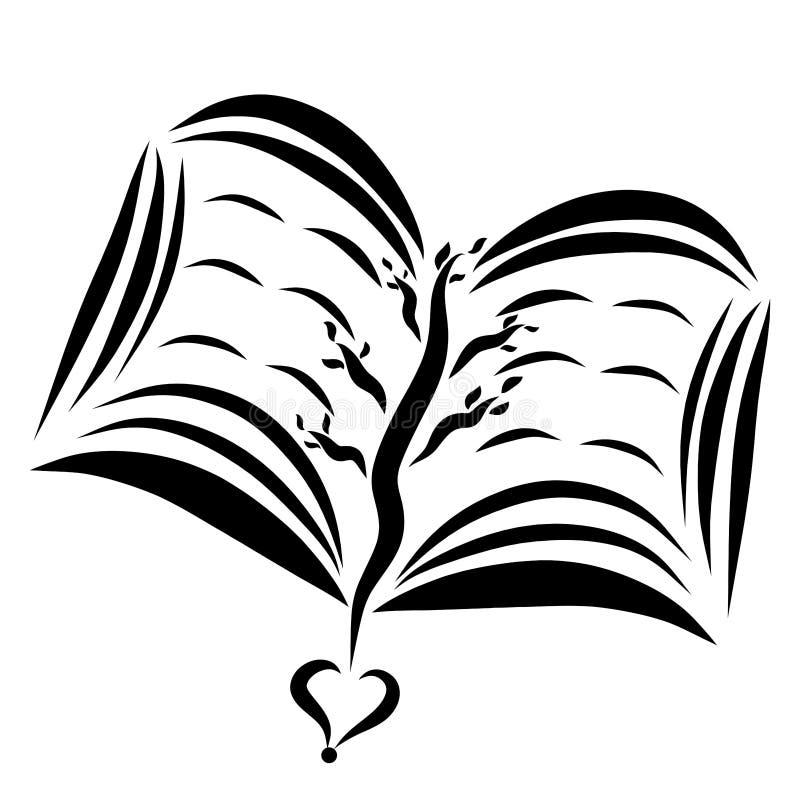 Un libro abierto con un árbol y un corazón, modelo negro ilustración del vector