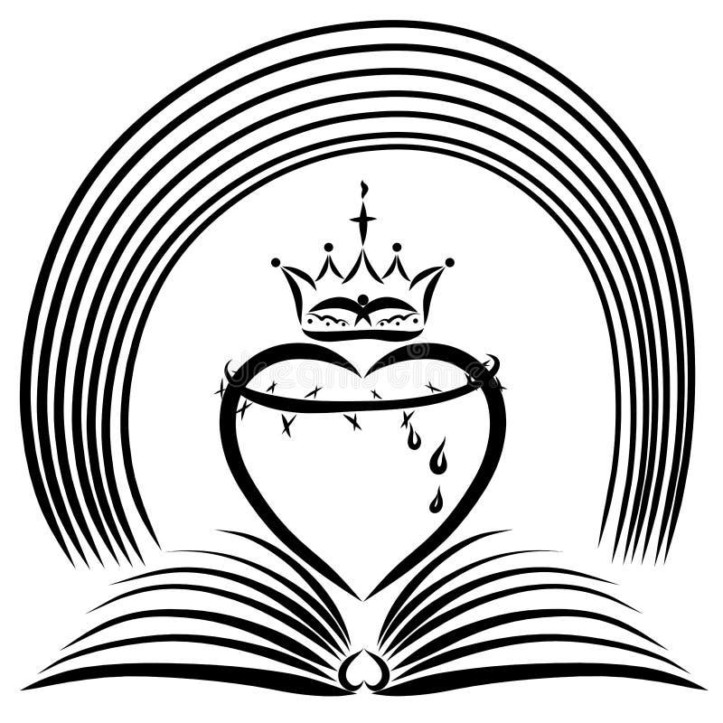 Un libro abierto con un corazón, una corona de espinas, una corona y una lluvia ilustración del vector