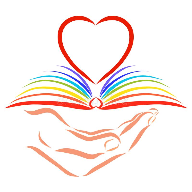 Un libro abierto con las páginas del arco iris a disposición, y un corazón vacío ilustración del vector