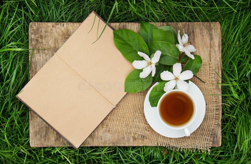 Un libro abierto con las páginas vacías, una taza de té caliente y un membrillo florecen Rotura de té en el jardín de la primaver foto de archivo libre de regalías