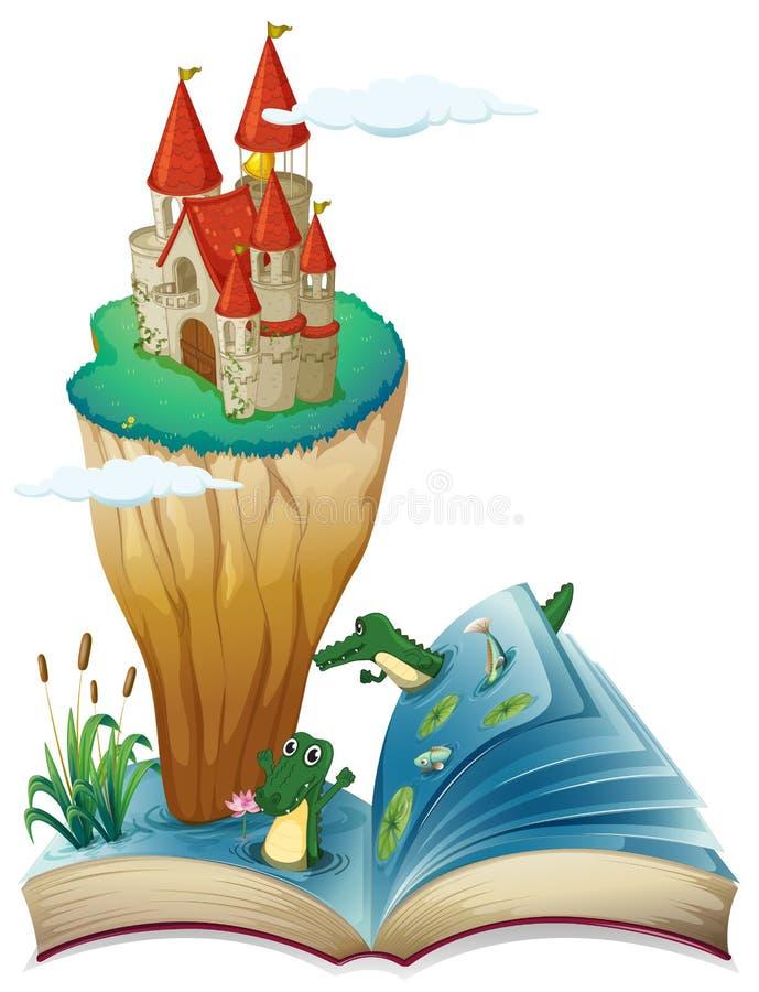 Un libro abierto con una imagen de un castillo en una isla stock de ilustración
