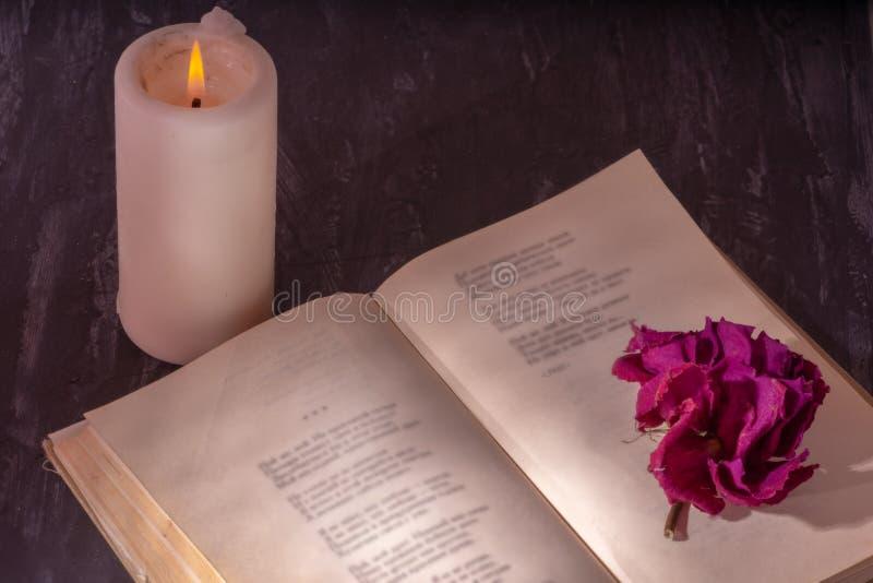 Un libro abierto con una vela en las páginas es un brote de la rosa secada imagen de archivo