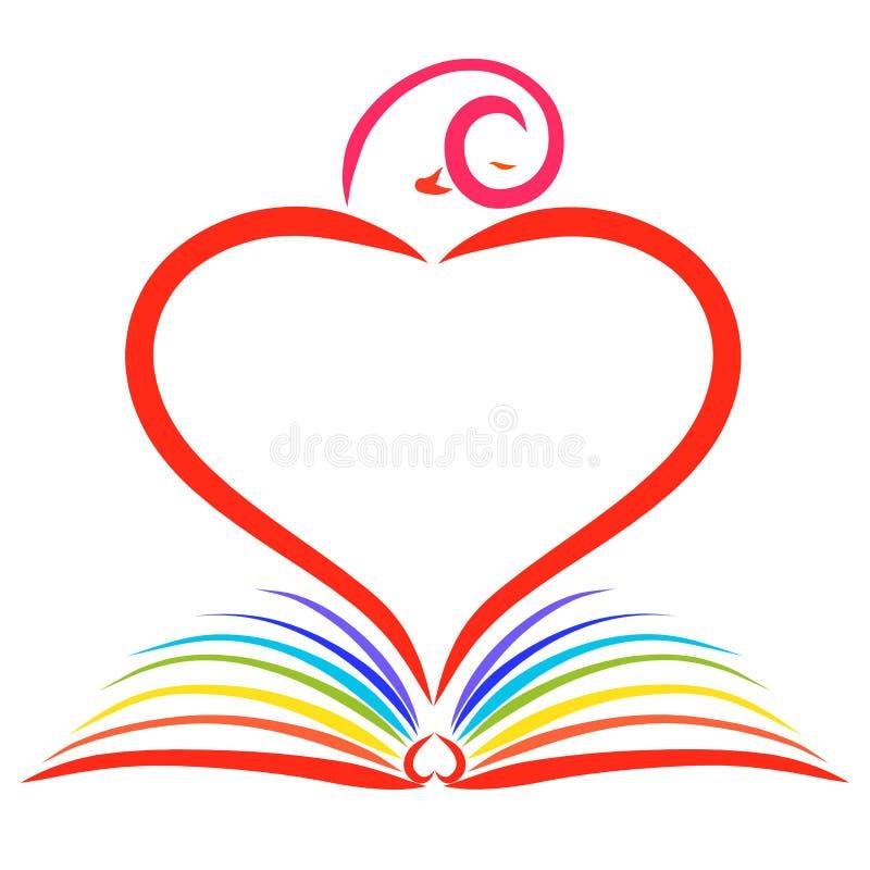 Un libro abierto del arco iris y un pájaro en la forma de un corazón sobre él stock de ilustración