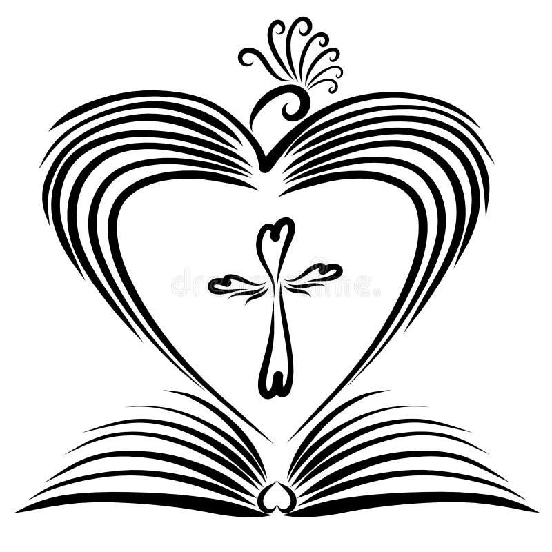 Un libro abierto, un pájaro creando un corazón de alas y de una cruz stock de ilustración